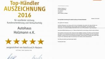 Auszeichnung Autoscout für Autohaus Holzmann, Leutkirch