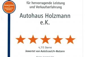Auszeichnung AutoScout24 für Autohaus Holzmann, Leutkirch